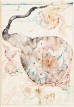 SALVADOR DALÍ   LE BAIN DE LA VILLA NIRVÂNA AVEC ÉVOCATION DES MOSAÏQUES DE TIMGAD ET DES SCULPTURES DES BAIGNEUSES EN ALBÂTRE, ILLUSTRATION POUR L'OUVRAGE DE MAURICE SANDOZ DAS HAUS OHNE FENSTER (1948), LA MAISON SANS FENÊTRE (1949)