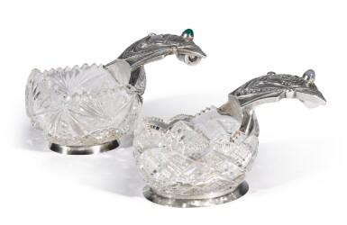 View 1. Thumbnail of Lot 100. Two gem-set, silver-gilt and cut-glass kovshi, Ivan Khlebnikov, Moscow, 1908-1917.
