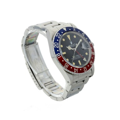 View 3. Thumbnail of Lot 109. ROLEX   REFERENCE 16750 GMT-MASTER 'PEPSI' A STAINLESS STEEL AUTOMATIC DUAL TIME WRISTWATCH WITH DATE AND BRACELET, CIRCA 1980.