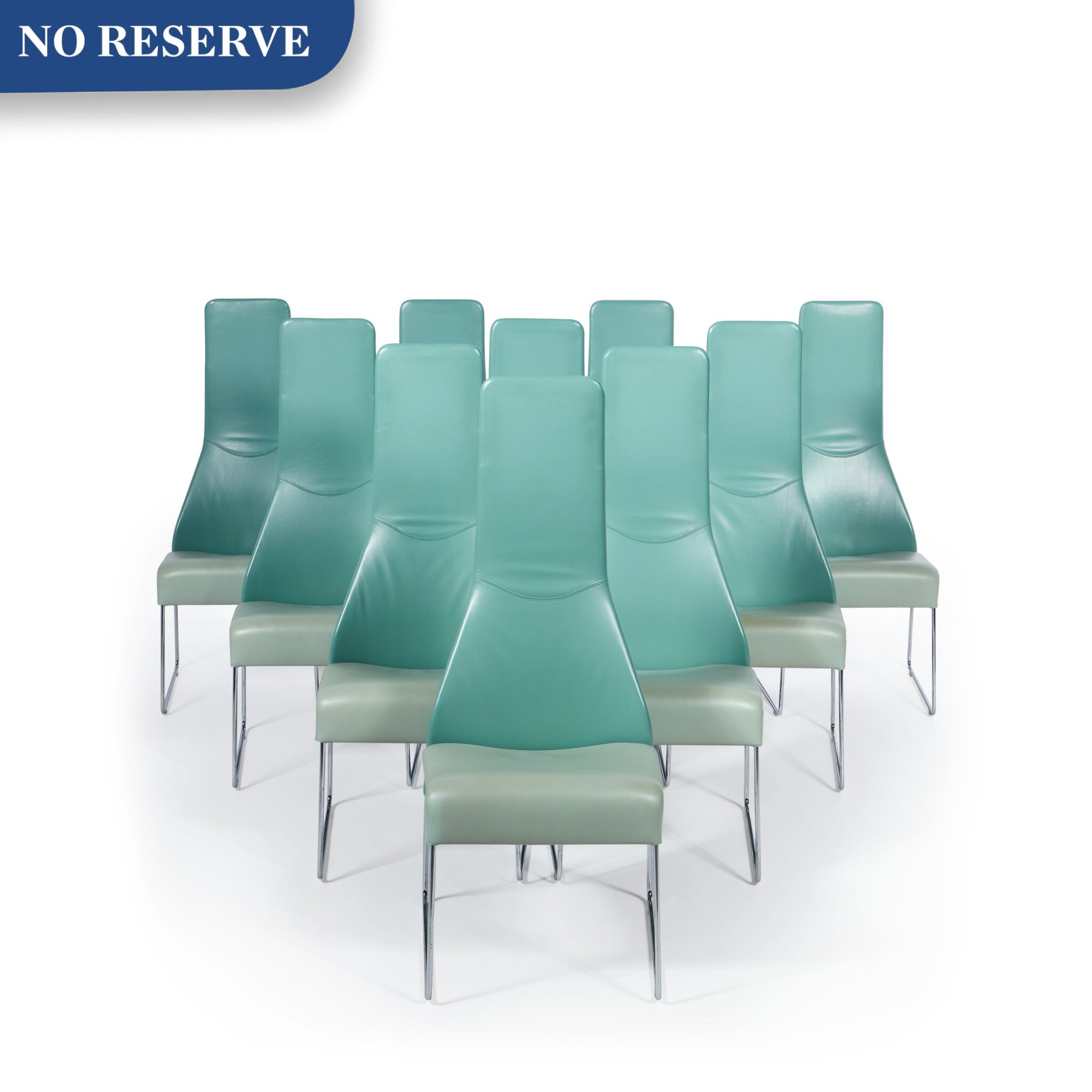 """View full screen - View 1 of Lot 291. Set of Ten """"Lazy"""" High Back Dining Chairs."""