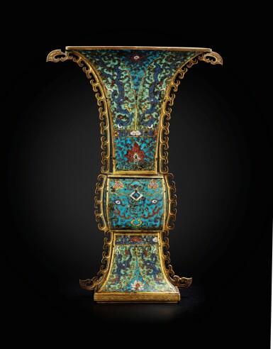 View 3. Thumbnail of Lot 178. A large gilt-bronze and cloisonné enamel ceremonial vase, fanggu 17th century | 十七世紀 掐絲琺瑯獸面紋出戟方觚.