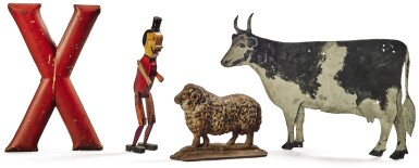 GROUP OF FOUR MISCELLANEOUS FOLK ART DECORATIVE ARTICLES, LATE 19TH TO EARLY 20TH CENTURY