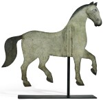 PAINTED SHEET-IRON INDEX-STYLE HORSE WEATHERVANE, POSSIBLY NEW ENGLAND, MID 19TH CENTURY