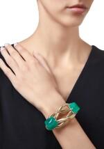GOLD, EMERALD AND DIAMOND BRACELET, CARTIER | 黃金鑲祖母綠配鑽石手鏈,卡地亞