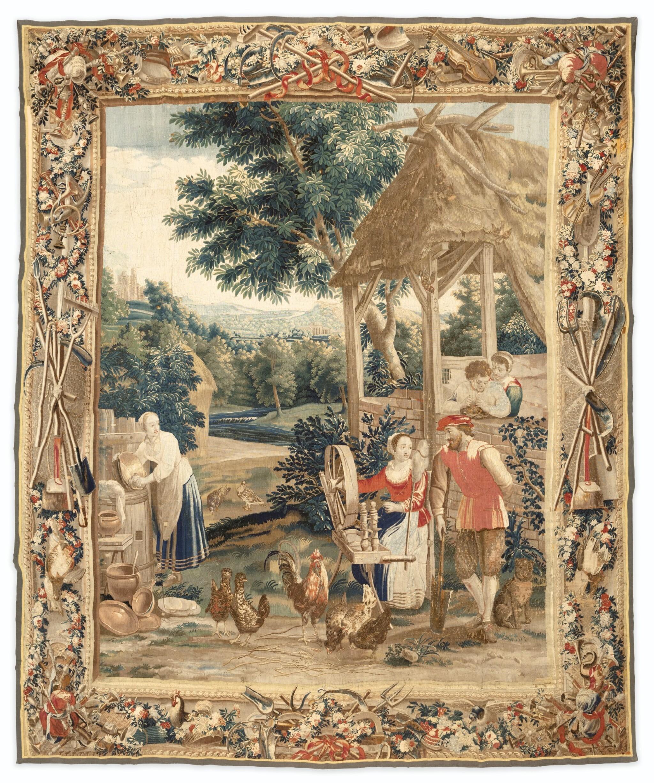 "View full screen - View 1 of Lot 37. A FLAMISH TAPESTRY FROM THE SERIES OF THE ""SCÈNES DE VIE À LA CAMPAGNE"", EARLY 18TH CENTURY, WORKSHOP OF GUILLAUME WERNIERS, AFTER TENIERS | TAPISSERIE DES FLANDRES, SÉRIE DES SCÈNES DE VIE À LA CAMPAGNE, DÉBUT DU XVIIIE SIÈCLE, ATELIER LILLOIS DE GUILLAUME WERNIERS, D'APRÈS TENIERS."