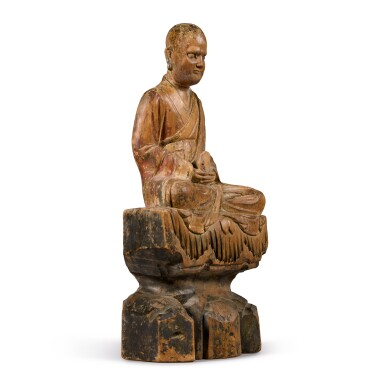 View 2. Thumbnail of Lot 108. A polychrome-painted wood figure of a luohan, Ming dynasty | 明 木雕加彩羅漢坐像.