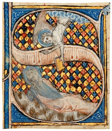 View 1. Thumbnail of Lot 1. An Angel Delivering a Message, historiated initial on a cutting, [France, early 14th century].