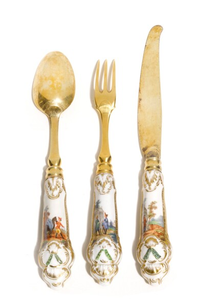 View 2. Thumbnail of Lot 257. A SET OF 17 SILVER-GILT PORCELAIN-MOUNTED FLATWARE FROM THE CATHERINE THE GREAT DESSERT SERVICE, ROYAL PORCELAIN FACTORY, BERLIN (K.P.M.), 1770-1772.