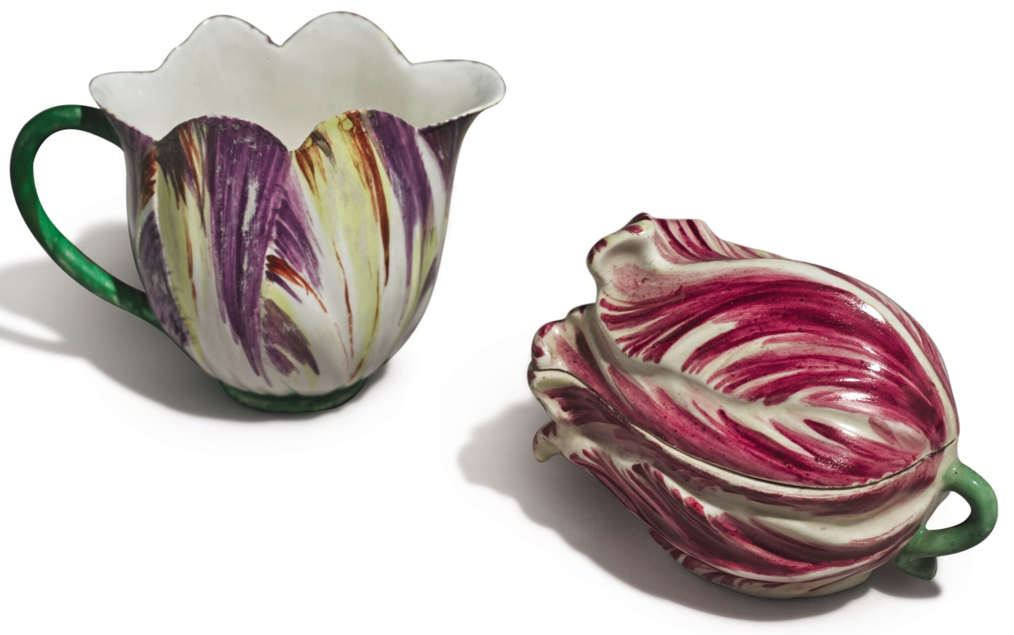 View full screen - View 1 of Lot 146. A LONGTON HALL TULIP-MOLDED CREAM JUG, CIRCA 1755, AND A THURINGIAN TULIP-FORM BOX AND COVER, LATE 18TH CENTURY.