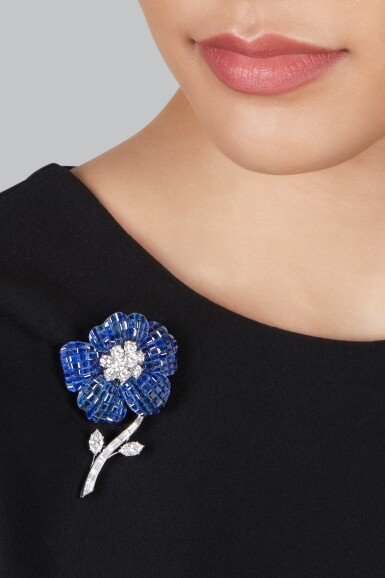 View 2. Thumbnail of Lot 75. Van Cleef & Arpels | Mystery-Set Sapphire and Diamond Brooch.