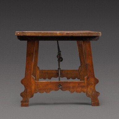 View 3. Thumbnail of Lot 176. A Spanish Baroque walnut trestle table, 17th century.