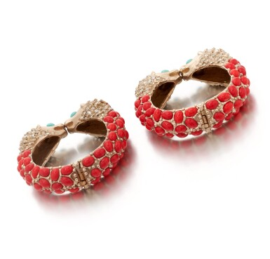 View 3. Thumbnail of Lot 97. Pair of red, turquoise and black gripoix and rhinestone cuffs.