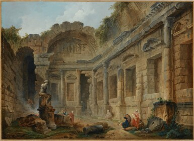 View 2. Thumbnail of Lot 17. HUBERT ROBERT | THE TEMPLE OF DIANA AT NIMES WITH FIGURES IN THE FOREGROUND INCLUDING AN ARTIST SKETCHING.
