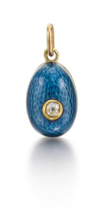 A jewelled gold and enamel egg pendant, late 19th / early 20th century