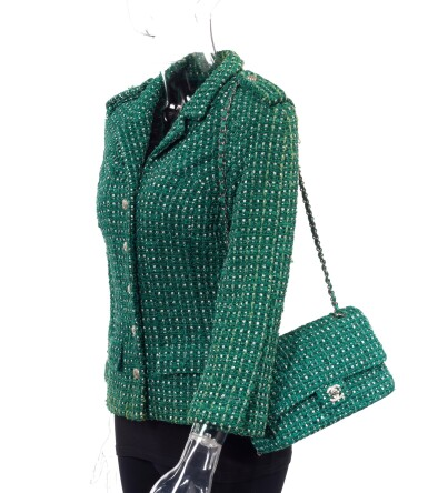View 1. Thumbnail of Lot 85. GREEN AND WHITE TWEED JACKET AND MATCHING TWEED AND LEATHER CLASSIC SHOULDER BAG, CHANEL.
