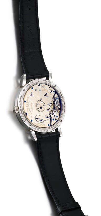 View 3. Thumbnail of Lot 50. A. LANGE & SÖHNE   GRAND LANGE 1 MOON PHASE LUMEN, REFERENCE 139.035F, A LIMITED EDITION PLATINUM SEMI-SKELETONISED WRISTWATCH WITH DATE, MOON PHASES AND POWER RESERVE INDICATION, CIRCA 2017.
