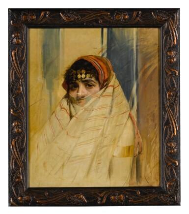 View 3. Thumbnail of Lot 135. WOJCIECH KOSSAK     PORTRAIT OF A VEILED WOMAN.
