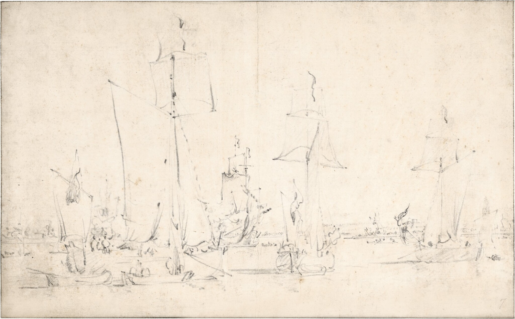 View full screen - View 1 of Lot 102. English vessels becalmed.