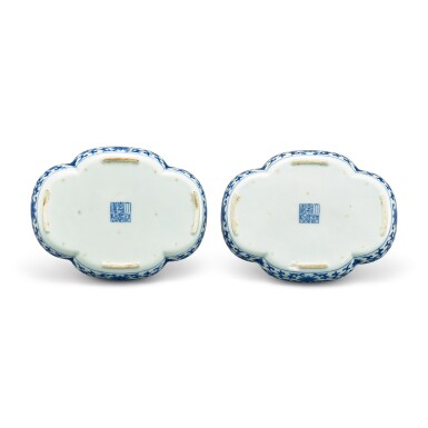 View 2. Thumbnail of Lot 105. A FINE PAIR OF INSCRIBED BLUE AND WHITE TEA TRAYS SEAL MARKS AND PERIOD OF JIAQING   清嘉慶 青花御題詩海棠式茶盤一對 《大清嘉慶年製》款.