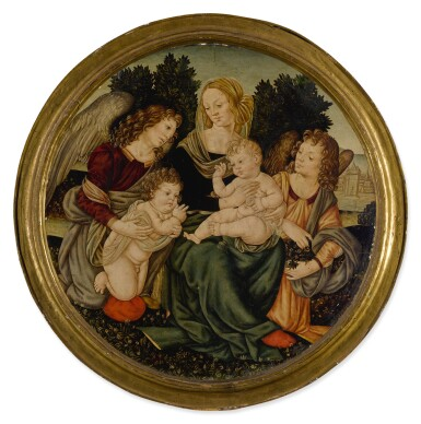 View 2. Thumbnail of Lot 572. Madonna and Child with the infant Saint John the Baptist and two angels.