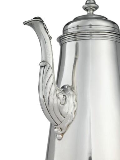 View 2. Thumbnail of Lot 403. An American Silver Coffee Pot, Samuel Casey, South Kingstown, RI, circa 1755-60.