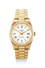 ROLEX   DATEJUST, REFERENCE 15238, A YELLOW GOLD WRISTWATCH WITH DATE AND BRACELET, CIRCA 1990