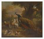 JAKOB BOGDÁNY | A LANDSCAPE WITH A PEACOCK, A MAGPIE, AND OTHER VARIOUS BIRDS