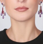 PAIR OF AMETHYST, RUBY AND DIAMOND EAR CLIPS, MICHELE DELLA VALLE