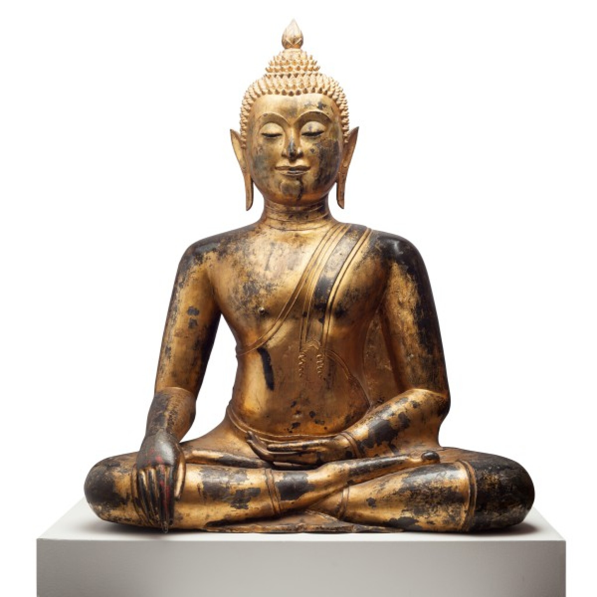 View full screen - View 1 of Lot 63. Thailand, Ayutthaya Period, 16th/17th century   Seated Buddha.
