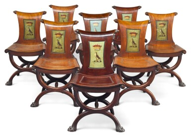 View 1. Thumbnail of Lot 1. A SET OF EIGHT IRISH GEORGE III MAHOGANY HALL CHAIRS, LATE 18TH CENTURY/EARLY 19TH CENTURY.