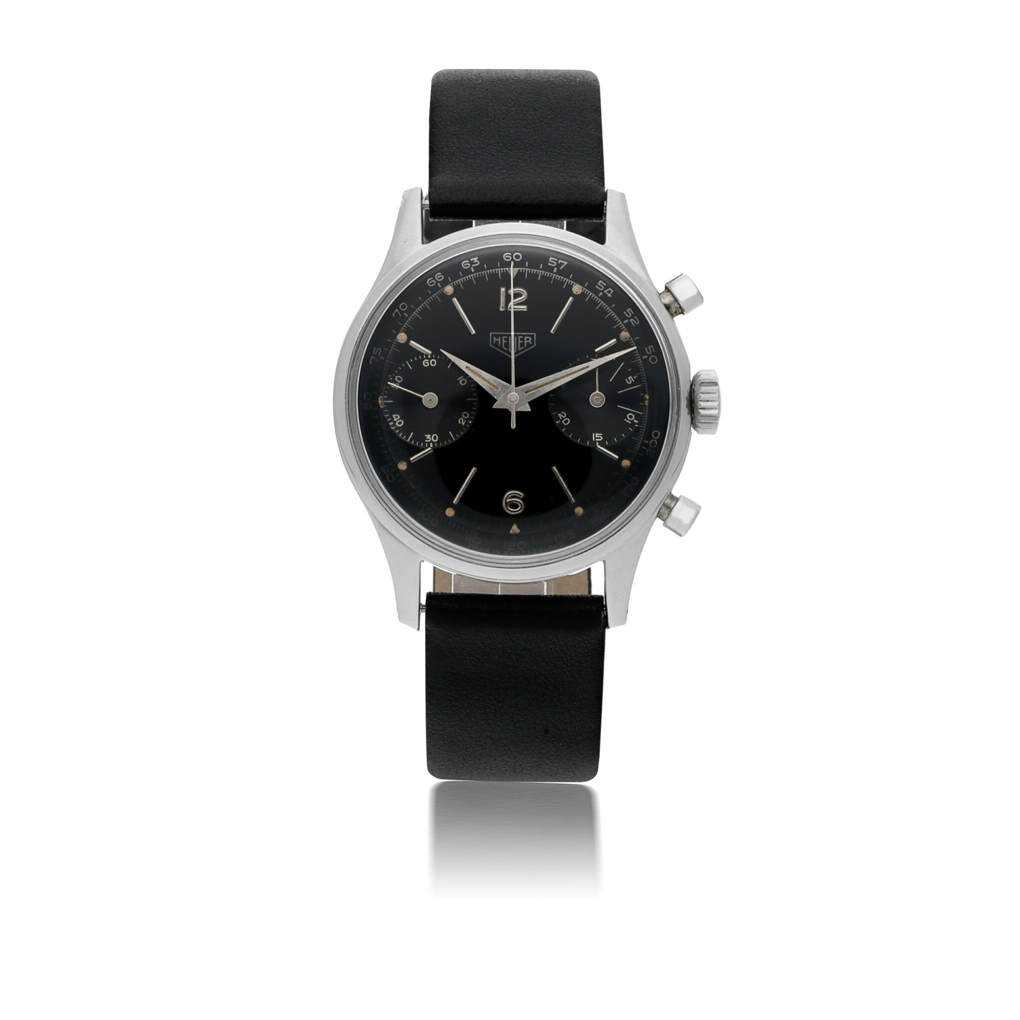 View full screen - View 1 of Lot 49. HEUER | REF 3336NT STAINLESS STEEL CHRONOGRAPH WRISTWATCH  CIRCA 1955.