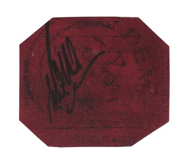 View 1. Thumbnail of Lot 3. The British Guiana One-Cent Black on Magenta.