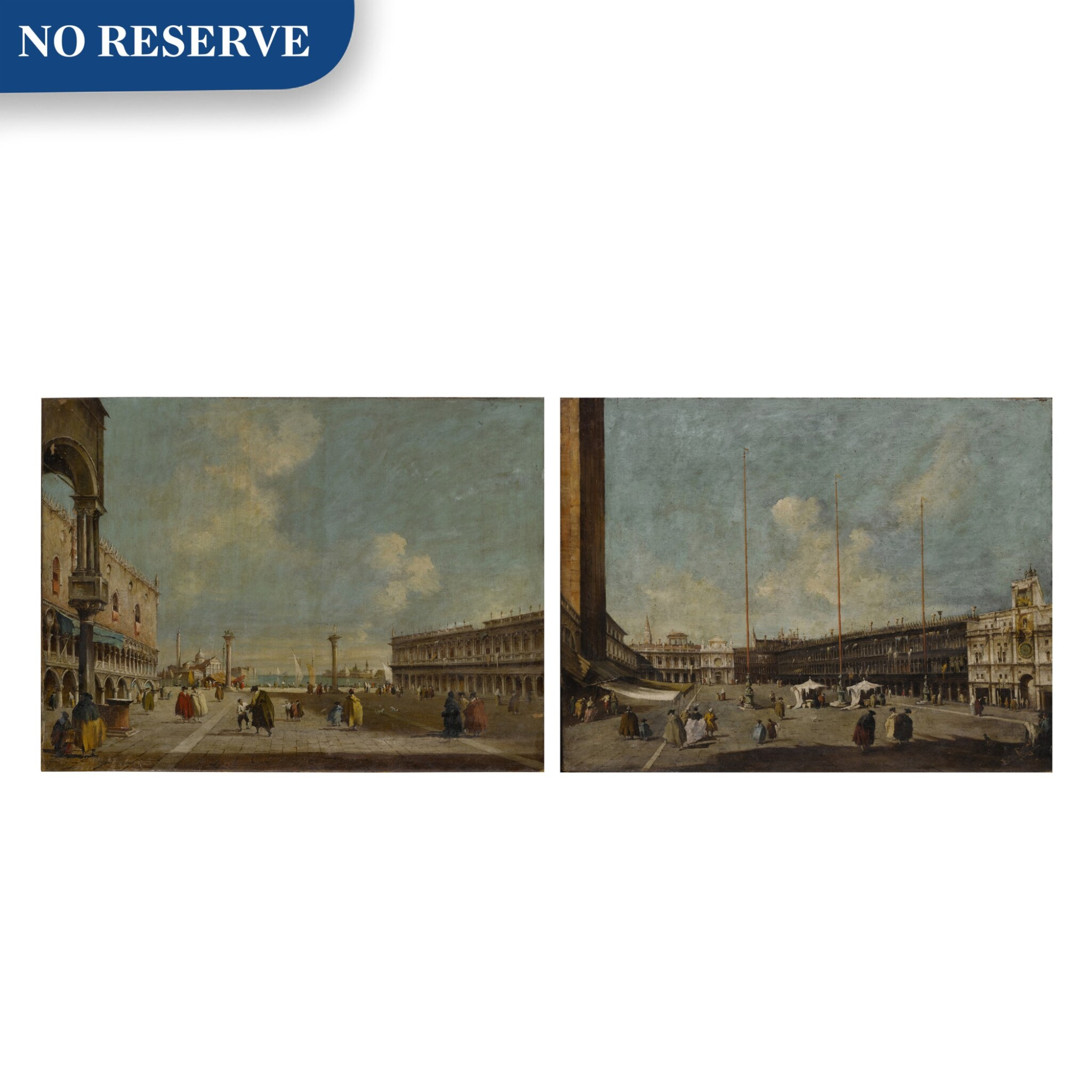 View full screen - View 1 of Lot 22. Venice, a view of St. Mark's Square towards San Geminiano & Venice, a view of the Piazzetta towards San Giorgio Maggiore.