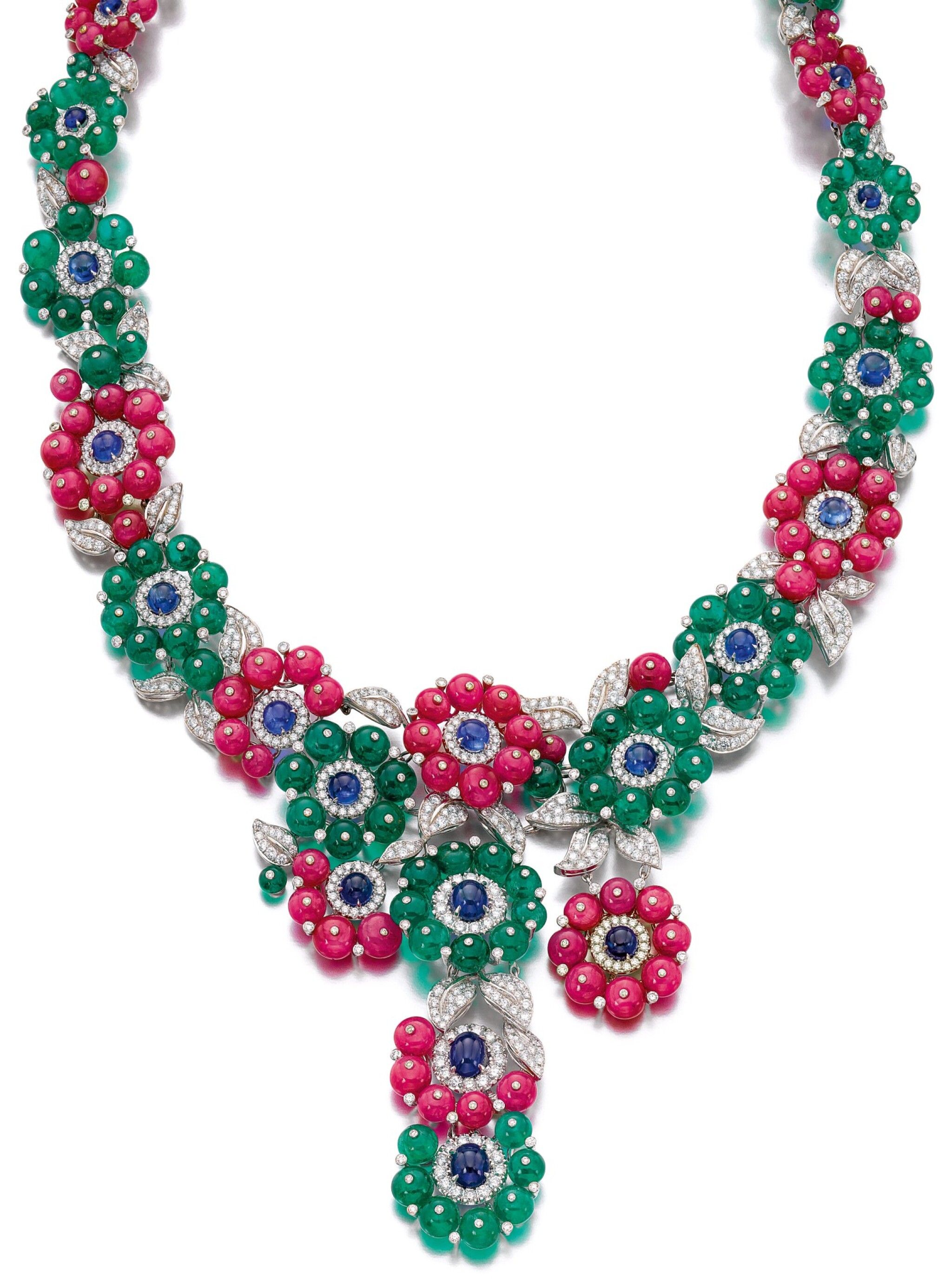 View full screen - View 1 of Lot 91.  MICHELE DELLA VALLE | GEM SET AND DIAMOND NECKLACE.