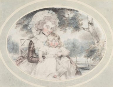 View 1. Thumbnail of Lot 202. A portrait of Lady Hester Lushington (1750-1830) and her son Stephen Lushington (1782-1873).