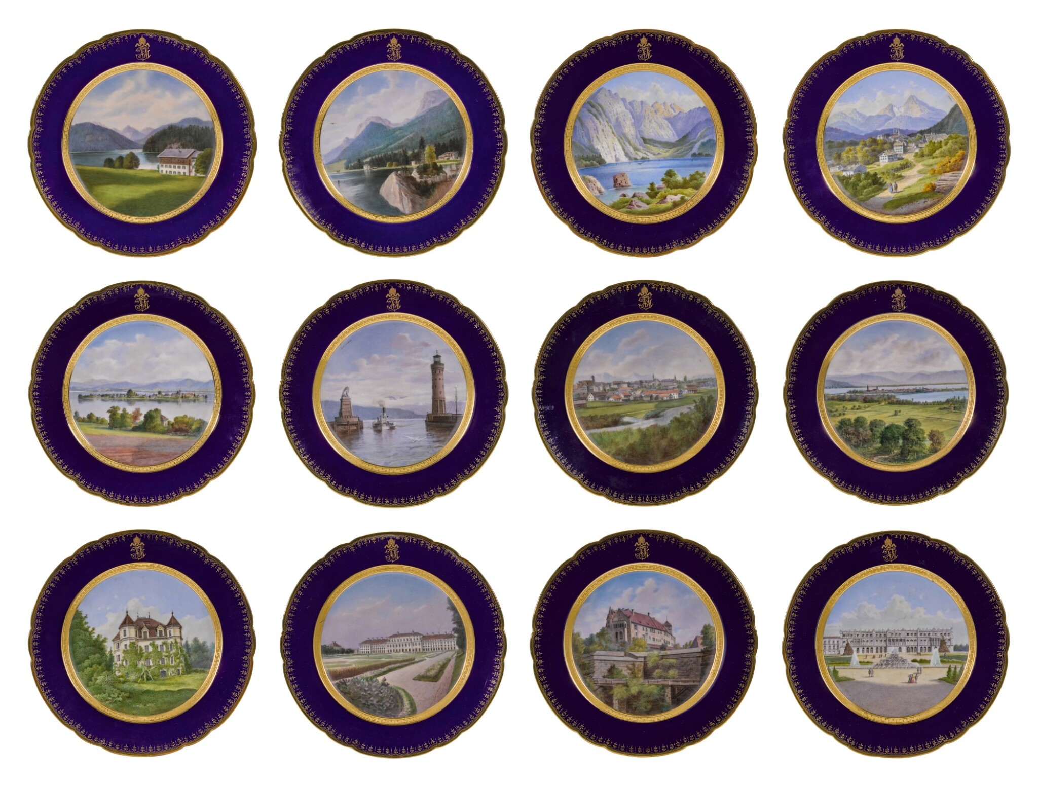 View full screen - View 1 of Lot 106. An Imperial presentation set of twelve Hutschenreuther porcelain plates, circa 1890.