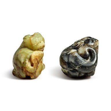 View 6. Thumbnail of Lot 172. Two jade 'Buddhist lions' pendants, 20th century.