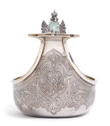 View 4. Thumbnail of Lot 244. A Russian gem-set and silver-gilt kovsh, Grachev Brothers, St Petersburg, circa 1890.