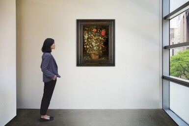 View 5. Thumbnail of Lot 25. Still life with a large bouquet of flowers in a wooden bucket, including a crown imperial lily, roses, tulips and other flowers, with butterflies, insects and berries on the shelf beneath |《靜物畫:木盆裡的大束鮮花,包括一朵冠花貝母、玫瑰、鬱金香,盆架上有蝴蝶、昆蟲、莓果》.