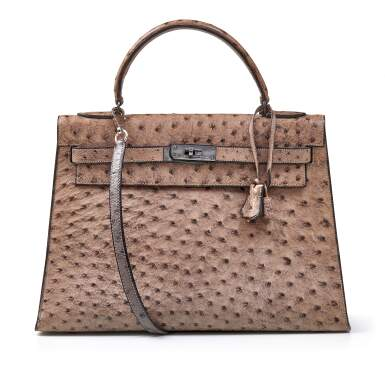View 1. Thumbnail of Lot 356. Mousse Kelly 35cm in Ostrich Leather with Gold Hardware, 1978.