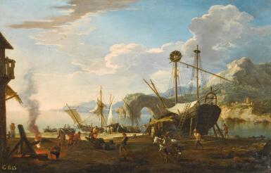 View 1. Thumbnail of Lot 10. JACOB DE HEUSCH | A capriccio harbour scene in a mediterranean bay.