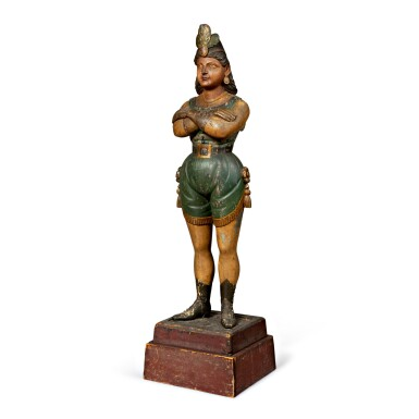 RARE AND IMPORTANT CARVED AND POLYCHROME PAINT-DECORATED PINE TOBACCONIST TRADE FIGURE DEPICTING A THEATRICAL FIGURE, POSSIBLY THE WORK OF WILLIAM DEMUTH OR SAMUEL ROBB, PROBABLY NEW YORK, CIRCA 1880
