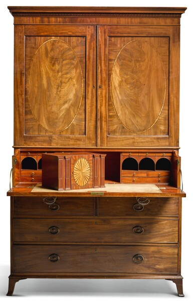 View 1. Thumbnail of Lot 109.  A GEORGE III MAHOGANY SECRETAIRE PRESS CUPBOARD, CIRCA 1790, ATTRIBUTED TO GILLOWS.