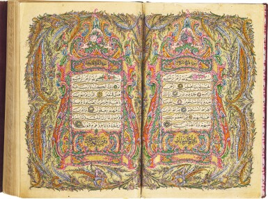 A FINE ILLUMINATED QUR'AN, COPIED BY MEHMED RASHID KNOWN AS HAFIZ AL-QUR'AN, ILLUMINATED BY HASAN AL-HILMI, TURKEY, OTTOMAN, DATED 1259 AH/1843-44 AD