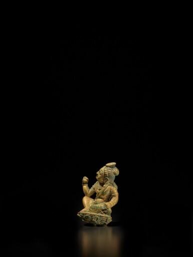 View 2. Thumbnail of Lot 104. A small gilt-bronze figure of a bodhisattva, Tang dynasty | 唐 銅鎏金袖珍菩薩坐像.