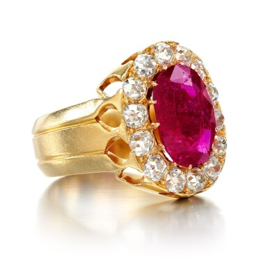 View 2. Thumbnail of Lot 6. Ruby and diamond ring, late 19th century.