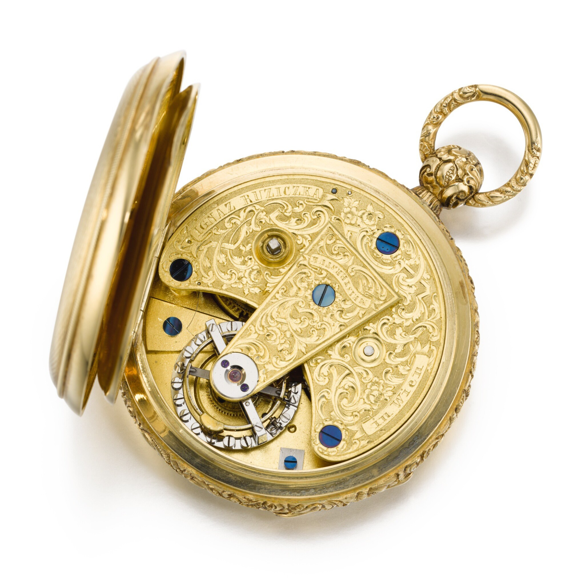 View full screen - View 1 of Lot 93. IGNAZ RUZICZKA, IN WIEN [Ignaz Ruziczka,維也納] | A VERY FINE AND RARE GOLD OPEN-FACED ONE-MINUTE TOURBILLON WATCH WITH CHRONOMETER ESCAPEMENT AND RÉAUMUR THERMOMETER  CIRCA 1840 [極罕有黃金一分鐘陀飛輪懷錶備天文鐘擒縱系統及列氏溫度計,年份約1840].