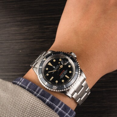 "ROLEX | Submariner, Ref. 1680, A Stainless Steel Wristwatch with MK4 ""Red Submariner"" Dial and Bracelet, Circa 1972"