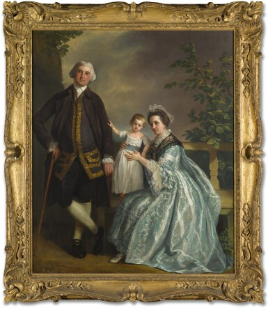 BIAGIO REBECCA | A GROUP PORTRAIT OF THOMAS BANKES WITH HIS WIFE AND SON, ALL FULL-LENGTH
