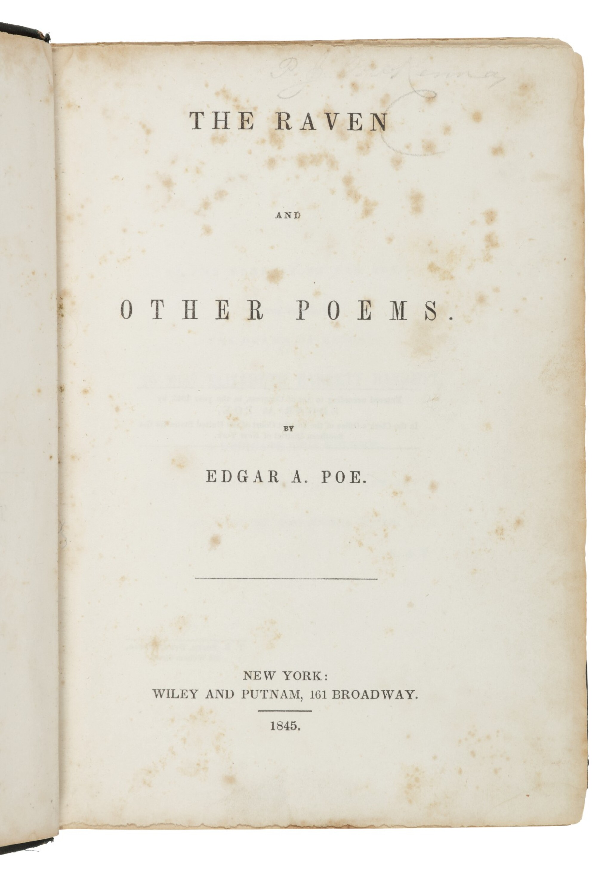 """View full screen - View 1 of Lot 111. Poe, Edgar Allan   The """"marrow of Poe""""."""